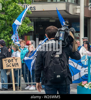 Perth, Scotland, UK. 5th July 2019: Protesters outside the Perth Concert Hall where the Tory Leadership Hustings is taking place. - Stock Photo