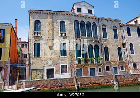 Two large houses, facing the Rio Carmini in Venice - Stock Photo