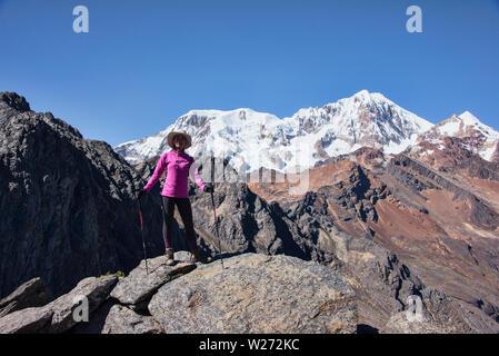 Crossing the Abra Illampu Pass, Cordillera Real Traverse, Bolivia - Stock Photo