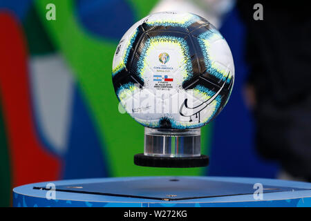 SÃO PAULO, SP - 06.07.2019: ARGENTINA VS. CHILE - Ball during match between Argentina and Chile, valid for the dispute of the third place of Copa America 2019, held this Saturday (06) at the Corinthians Arena in São Paulo, SP. (Photo: Ricardo Moreira/Fotoarena) - Stock Photo