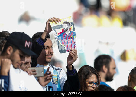 SÃO PAULO, SP - 06.07.2019: ARGENTINA VS. CHILE - Fan during a match between Argentina and Chile, valid for the third place match of Copa América 2019, held this Saturday (06) at the Corinthians Arena in São Paulo, SP. (Photo: Ricardo Moreira/Fotoarena) - Stock Photo