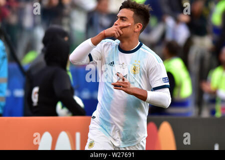 Sao Paulo, Brazil, July 06nd, 2019 - Dybala - Match between Argentina and Chile, valid for the competition of 3rd place of CONMEBOL Copa América Brasil 2019, held in the Corinthians Arena, on the afternoon of this saturday, 06. (Credit: Eduardo Carmim/Alamy Live News) - Stock Photo