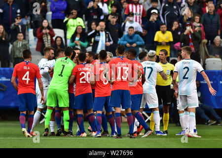 Sao Paulo, Brazil, July 06nd, 2019 - Messi - Match between Argentina and Chile, valid for the competition of 3rd place of CONMEBOL Copa América Brasil 2019, held in the Corinthians Arena, on the afternoon of this saturday, 06. (Credit: Eduardo Carmim/Alamy Live News) - Stock Photo
