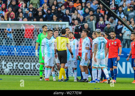 Brazil. 6th July, 2019. Messi in the Game of the match between Argentina X Chile valid for third place dispute of Copa America 2019, in the Arena Corinthians, in São Paulo, this Saturday (06). Photo: Geraldo Bubniak Credit: Geraldo Bubniak/ZUMA Wire/Alamy Live News - Stock Photo