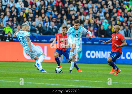 Brazil. 6th July, 2019. Game of the match between Argentina X Chile valid for third place dispute of Copa America 2019, in the Arena Corinthians, in São Paulo, this Saturday (06). Photo: Geraldo Bubniak Credit: Geraldo Bubniak/ZUMA Wire/Alamy Live News - Stock Photo