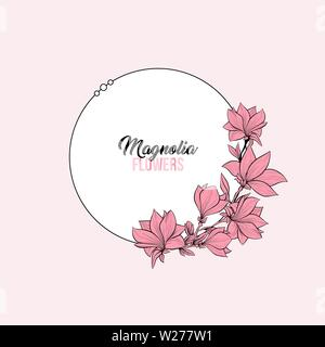 Flowering magnolia vector frame template. Japanese plant in blossom, grandiflora petals hand drawn illustration. Elegant pastel pink background for text with floral decor and white border - Stock Photo