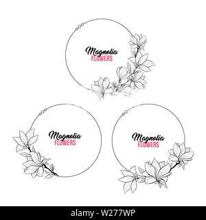 Magnolia Contour Drawing Branches Set. Circle or Round Frame for Wedding Design. Isolated Vector Elegant Illustration - Stock Photo