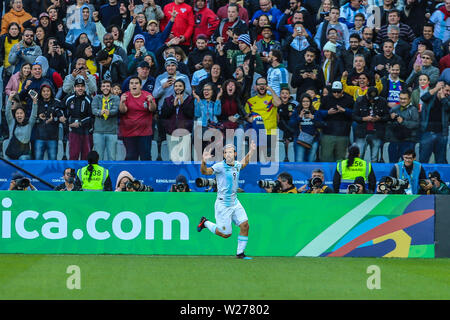 Brazil. 6th July, 2019. Aguero celebrate goal in the Game of the match between Argentina X Chile valid for third place dispute of Copa America 2019, in the Arena Corinthians, in São Paulo, this Saturday (06). Photo: Geraldo Bubniak Credit: Geraldo Bubniak/ZUMA Wire/Alamy Live News - Stock Photo