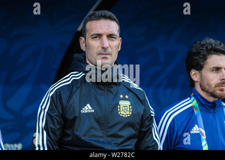 Brazil. 6th July, 2019. Dt Lionel Scaloni in the Game of the match between Argentina X Chile valid for third place dispute of Copa America 2019, in the Arena Corinthians, in São Paulo, this Saturday (06). Photo: Geraldo Bubniak Credit: Geraldo Bubniak/ZUMA Wire/Alamy Live News - Stock Photo