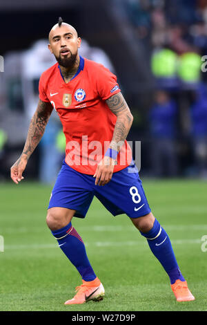 Sao Paulo, Brazil, July 06nd, 2019 - Vidal - Match between Argentina and Chile, valid for the competition of 3rd place of CONMEBOL Copa América Brasil 2019, held in the Corinthians Arena, on the afternoon of this saturday, 06. (Credit: Eduardo Carmim/Alamy Live News) - Stock Photo