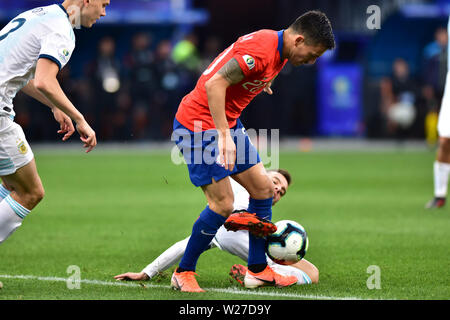 Sao Paulo, Brazil, July 06nd, 2019 - Charles Aranquiz - Match between Argentina and Chile, valid for the competition of 3rd place of CONMEBOL Copa América Brasil 2019, held in the Corinthians Arena, on the afternoon of this saturday, 06. (Credit: Eduardo Carmim/Alamy Live News) - Stock Photo