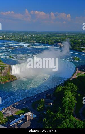 An aerial view of the majestic Horsehoe Falls in Niagara Falls, Ontario, Canada