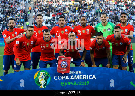 6th July 2019, Arena Corinthians Stadium, Sao Paulo, Brazil; Copa America international football, 3rd-4th playoff final, Argentina versus Chile; Players of Chile pose for official photo - Stock Photo