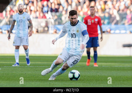 6th July 2019, Arena Corinthians Stadium, Sao Paulo, Brazil; Copa America international football, 3rd-4th playoff final, Argentina versus Chile; Lionel Messi of Argentina gets a goal chance early in the game - Stock Photo