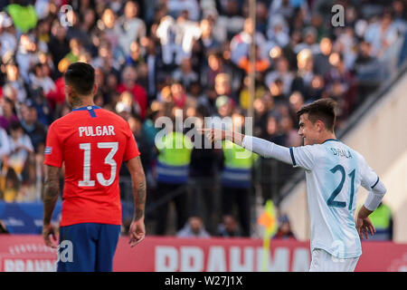 6th July 2019, Arena Corinthians Stadium, Sao Paulo, Brazil; Copa America international football, 3rd-4th playoff final, Argentina versus Chile; Paulo Dybala of Argentina celebrates his goal for 2-0 in minute 22 of the game - Stock Photo