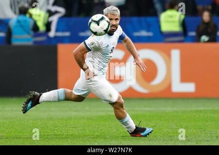 SÃO PAULO, SP - 06.07.2019: ARGENTINA VS. CHILE - Kun Aguero during a match between Argentina and Chile, valid for the third place match of Copa America 2019, held this Saturday (06) at the Corinthians Arena in São Paulo, SP. (Photo: Ricardo Moreira/Fotoarena) - Stock Photo
