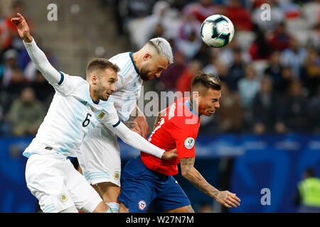 SÃO PAULO, SP - 06.07.2019: ARGENTINA VS. CHILE - Otamendi during match between Argentina and Chile, valid for the dispute of the third place of Copa America 2019, held this Saturday (06) at the Corinthians Arena in São Paulo, SP. (Photo: Ricardo Moreira/Fotoarena) - Stock Photo