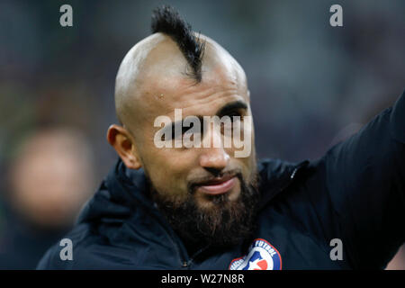 SÃO PAULO, SP - 06.07.2019: ARGENTINA VS. CHILE - Arturo Vidal during match between Argentina and Chile, valid for the dispute of the third place of Copa America 2019, held this Saturday (06) at the Corinthians Arena in São Paulo, SP. (Photo: Ricardo Moreira/Fotoarena) - Stock Photo
