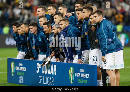 SÃO PAULO, SP - 06.07.2019: ARGENTINA VS. CHILE - Argentina team during match between Argentina and Chile, valid for the third place match of Copa América 2019, held this Saturday (06) at the Corinthians Arena in São Paulo, SP. (Photo: Ricardo Moreira/Fotoarena) - Stock Photo