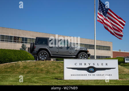 Kokomo - Circa July 2019: Jeep Wrangler on display at a Chrysler plant. The subsidiaries of FCA are Chrysler, Dodge, Jeep, and Ram VI - Stock Photo