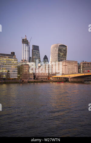 London, UK - February, 2019. View of the City of London, famous financial district, with new skyscrapers under construction. - Stock Photo