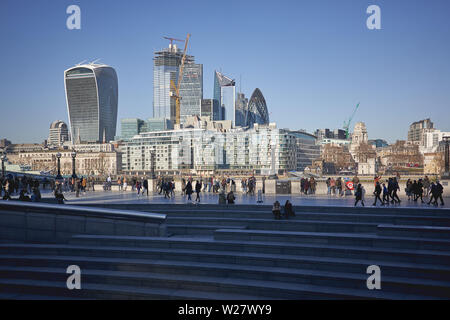 London, UK - February, 2019. View of the City of London, the famous financial district, with new skyscrapers under construction. - Stock Photo