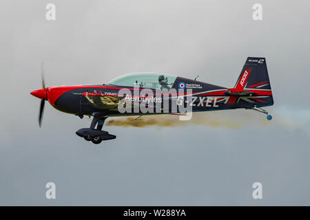 The Blades Aerobatic Display Team performing at the last Wings & Wheels airshow to be held at Dunsfold Aerodrome, UK on the 16th June 2019. - Stock Photo