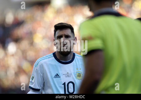 Sao Paulo, Brazil. 6th July, 2019. Argentina's Lionel Messi reacts after he recieved a red card during the 3rd place match of Copa America 2019 between Argentina and Chile in Sao Paulo, Brazil, July 6, 2019. Credit: Rahel Patrasso/Xinhua/Alamy Live News - Stock Photo