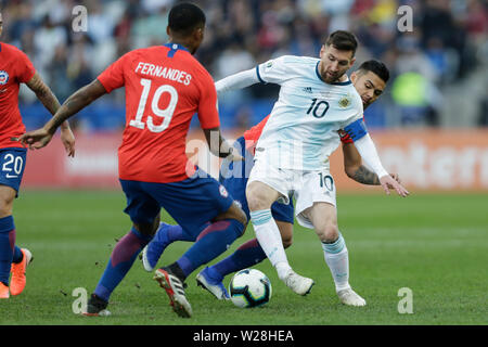 Sao Paulo, Brazil. 6th July, 2019. Argentina's Lionel Messi (C) competes during the 3rd place match of Copa America 2019 between Argentina and Chile in Sao Paulo, Brazil, July 6, 2019. Credit: Francisco Canedo/Xinhua/Alamy Live News - Stock Photo