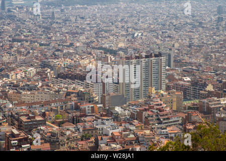 View of Barcelona city and costline in spring from the Bunkers in Carmel neighborhood. - Stock Photo