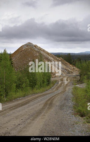 Rubble heap of gold and copper mine in Vasterbotten, Sweden. - Stock Photo