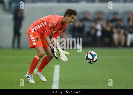 Los Angeles, CA, USA. 6th July, 2019. Los Angeles FC goalkeeper Pablo Sisniega (23) collects a shot on goal during the game between Vancouver Whitecaps and Los Angeles FC at Banc of California Stadium in Los Angeles, CA., USA. (Photo by Peter Joneleit) Credit: csm/Alamy Live News - Stock Photo