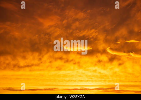 Orange sky Colorful sunset. Flaming orange clouds after rain. Abstract background. - Stock Photo