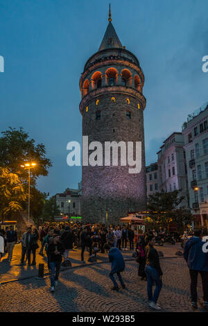 View of Galata Tower at twilight. Is a popular landmark of and offers a panoramic vista of the city. Istanbul, Turkey, October 2018 - Stock Photo