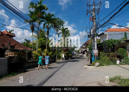Ubud, Bali, Indonesia - 17th May 2019 : View on the Jalan Bilsma road one of the most characteristic streets in the center of Ubud in Bali, Indonesia - Stock Photo