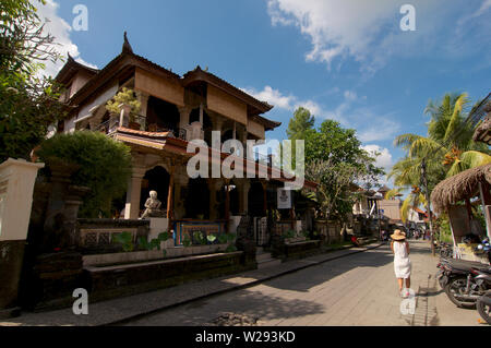 Ubud, Bali, Indonesia - 17th May 2019 : View of a typical beautiful restaurant building in the famous Jalan Bisma road in the center of Ubud in Bali, - Stock Photo