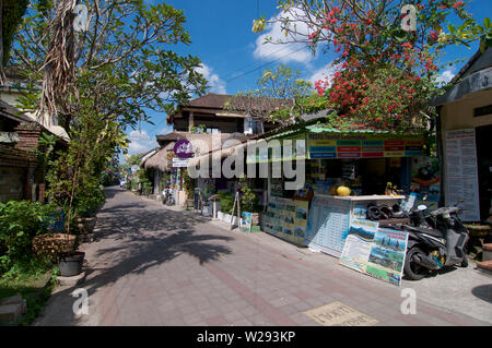 Ubud, Bali, Indonesia - 17th May 2019 : View on the famous Jalan Goutama road, one of the most famous streets in Ubud where to eat and go out in Ubud, - Stock Photo