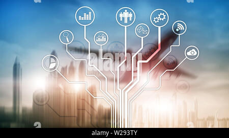 Business applications icons on blurred background. Financial and trading. Internet technology concept - Stock Photo