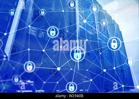 Cyber security, information privacy, data protection concept on modern server room background. Internet and digital technology concept - Stock Photo
