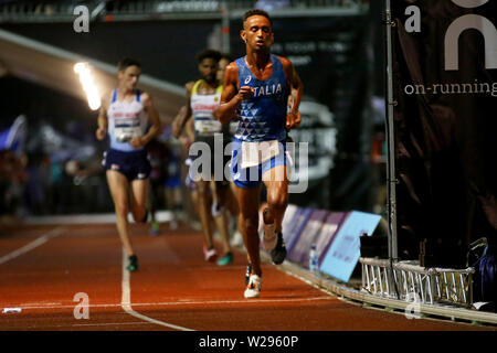 London, UK. 06th July, 2019. Yemaneberhan Crippa of Italy at European 10,000m cup 2019, athletics event at Parliament Hill Athletics Track in Highgate, London on Saturday 6th July 2019. please note Editorial use only. pic by Tom Smeeth/Andrew Orchard sports photography./Alamy Live News Credit: Andrew Orchard sports photography/Alamy Live News - Stock Photo