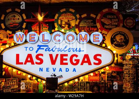 Las Vegas, Nevada, USA - May 6, 2019: Gift shop displays a replica of the Welcome To Fabulous Las Vegas Nevada sign in it's storefront. - Stock Photo