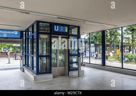 Berlin Dahlem District,Breitenbachplatz U-Bahn underground railway station. Modern entrance housing lift & stairs to platform. - Stock Photo