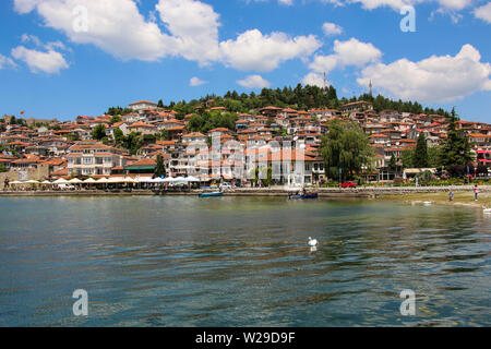 OHRID, MACEDONIA - JUNE 10, 2019: Historical part town Ohrid, UNESCO heritage listed is located next to the Ohrid lake, Republic of North Macedonia - Stock Photo