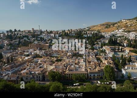 View of El Albaicín from the Alambra, Granada, Spain. - Stock Photo