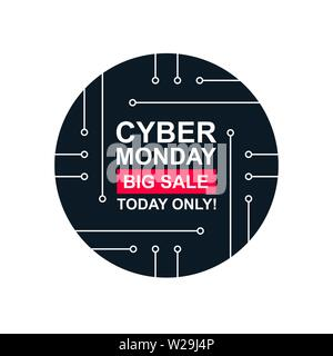Cyber monday with pcb elements. Concept of black friday sale, motherboard, shopping, cheap, special offer. Isolated on white background. Banner, label - Stock Photo