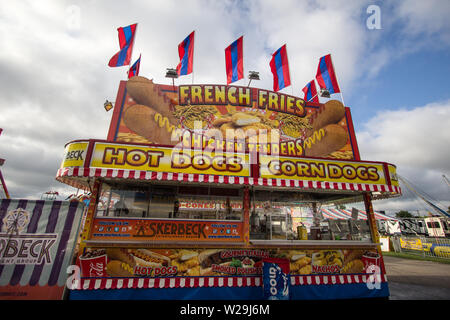 Cheboygan, Michigan, USA - August 9, 2018: Food concession booth at the Cheboygan County Fair in northern Michigan - Stock Photo
