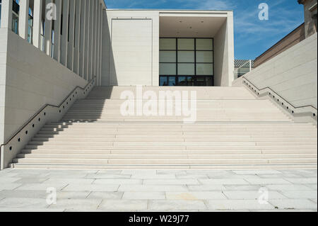 25.06.2019, Berlin, Germany, Europe - Staircase to the James Simon Gallery in Berlin's Mitte locality designed by British architect David Chipperfield. - Stock Photo