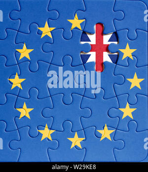 brexit puzzle. european union flag with missing Grat Britain star - Stock Photo