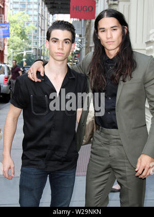 ***FILE PHOTO*** ACTOR CAMERON BOYCE HAS PASSED AWAY AT THE AGE OF 20 REPORTEDLY AS A RESULT OF A SEIZURE. NEW YORK, NY - JULY 17: Cameron Boyce and Booboo Stewart at The Apple Store in SoHo promoting Descendants 2 in New York City on July 17, 2017. Credit: RW/MediaPunch - Stock Photo