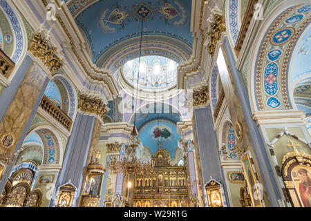 Lviv, Ukraine - July 2, 2019: Ornate interior of Archcathedral Basilica of the Assumption of the Blessed Virgin Mary in  Lviv, Ukraine Stock Photo